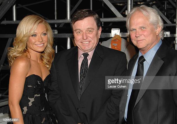 Kelly Ripa Jerry Mathers and Tony Dow during 5th Annual TV Land Awards Backstage at Barker Hangar in Santa Monica California United States