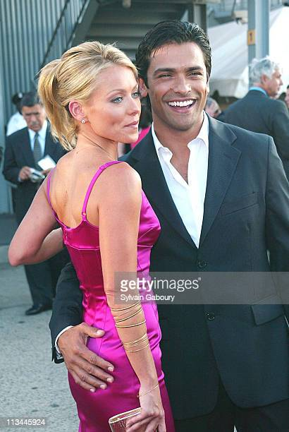 Kelly Ripa Mark Consuelos during Miramax premiere of The Great Raid at Intrepid Sea Air Space Museum in New York New York United States