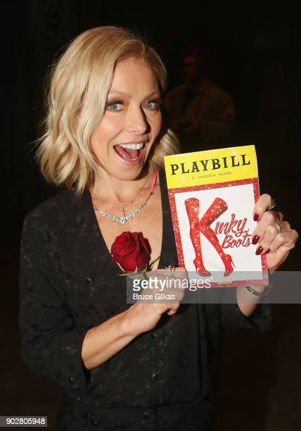 Kelly Ripa poses backstage as Jake Shears of rock group 'The Scissor Sisters' makes his Broadway debut in the hit musical 'Kinky Boots' on Broadway...