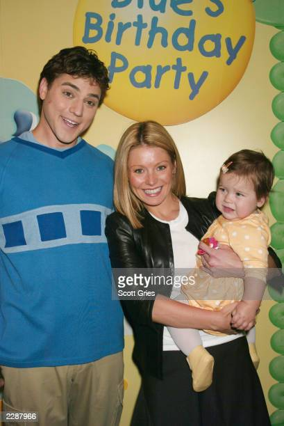 Kelly Ripa with her daugther Lola Grace and from Blue's Clues Donovan Patton as Joe at a party celebrating the opening night of Blue's Clues Live...