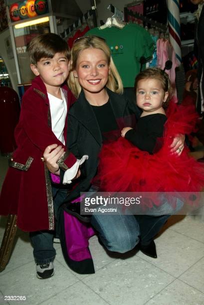 Kelly Ripa with son Michael and daughter Lola at a Halloween party to benefit New York Weill Cornell Medical Center's Big Apple Circus Clown Care...