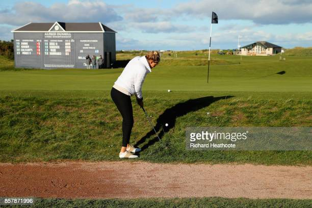 Kelly Rohrbach Actress chips onto the 17th during day one of the 2017 Alfred Dunhill Championship at The Old Course on October 5 2017 in St Andrews...