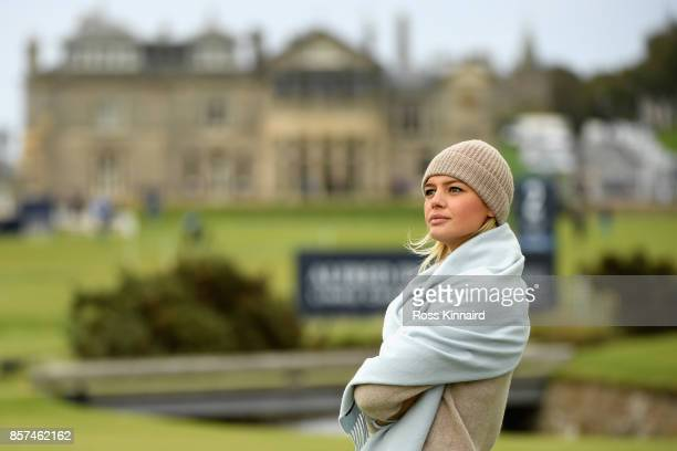 Kelly Rohrbach Actress looks on from the 2nd tee during practice prior to the 2017 Alfred Dunhill Links Championship at The Old Course on October 4...