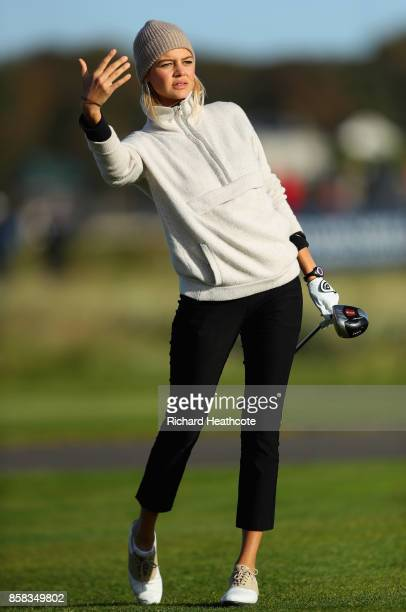 Kelly Rohrbach Actress tee's off at the second during day two of the 2017 Alfred Dunhill Championship at Carnoustie on October 6 2017 in Carnoustie...