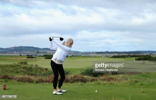 Kelly Rohrbach Actress tees off on the 6th during day one of the 2017 Alfred Dunhill Championship at The Old Course on October 5 2017 in St Andrews...