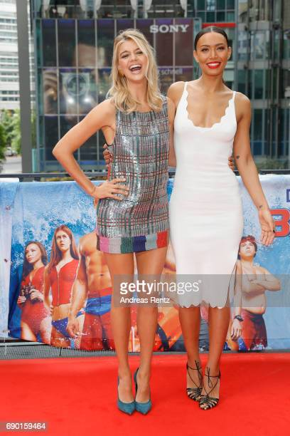 Kelly Rohrbach and Ilfenesh Hadera pose at the 'Baywatch' Photo Call at Sony Centre on May 30 2017 in Berlin Germany
