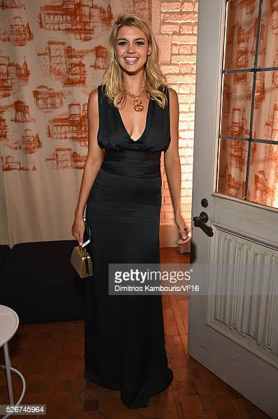 Kelly Rohrbach attends the Bloomberg Vanity Fair cocktail reception following the 2015 WHCA Dinner at the residence of the French Ambassador on April...
