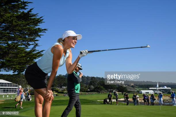 Kelly Rohrbach laughs during the 3M Celebrity Challenge during practice of the ATT Pebble Beach ProAm at Pebble Beach Golf Links on February 7 2018...