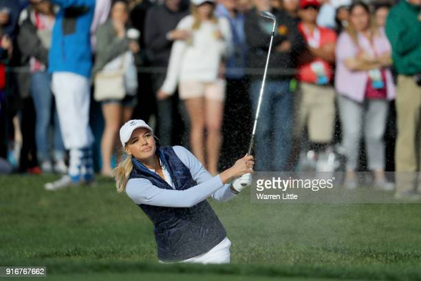 Kelly Rohrbach plays her shot on the 18th hole during Round Three of the ATT Pebble Beach ProAm at Pebble Beach Golf Links on February 10 2018 in...