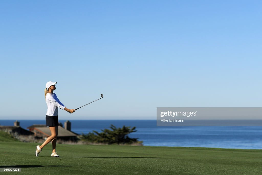 Kelly Rohrbach plays her shot on the fourth hole during Round One of the AT&T Pebble Beach Pro-Am at Spyglass Hill Golf Course on February 8, 2018 in Pebble Beach, California.