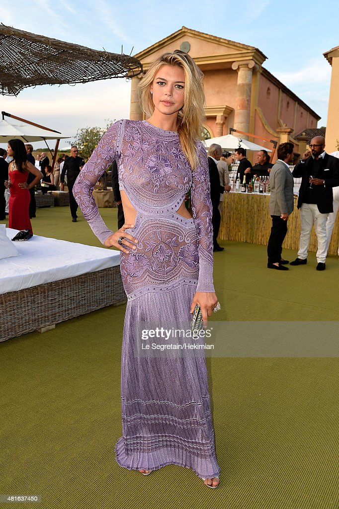Kelly Rohrbach poses as she attends the Cocktail reception during The Leonardo DiCaprio Foundation 2nd Annual Saint-Tropez Gala at Domaine Bertaud Belieu on July 22, 2015 in Saint-Tropez, France.