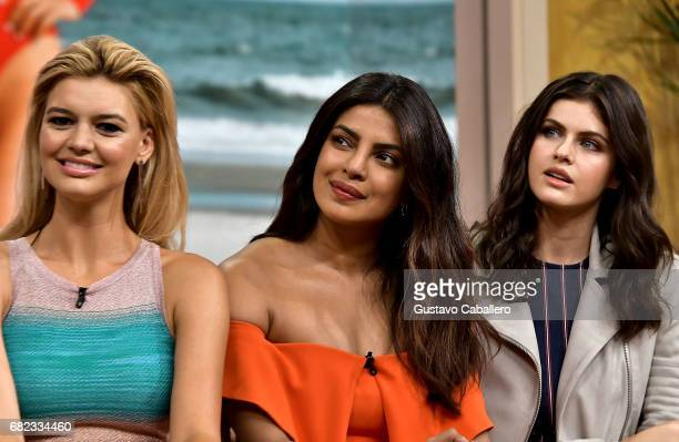 Kelly Rohrbach Priyanka Chopra and Alexandra Daddario are seen on the set of 'Despierta America' to promote the film 'Baywatch' at Univision Studios...