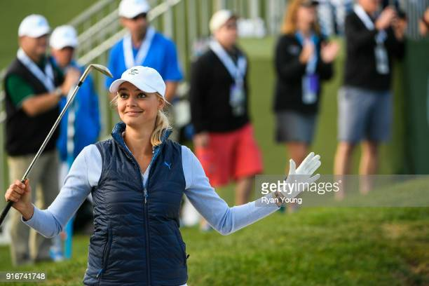Kelly Rohrbach reacts to her shot during the third round of the ATT Pebble Beach ProAm at Pebble Beach Golf Links on February 10 2018 in Pebble Beach...