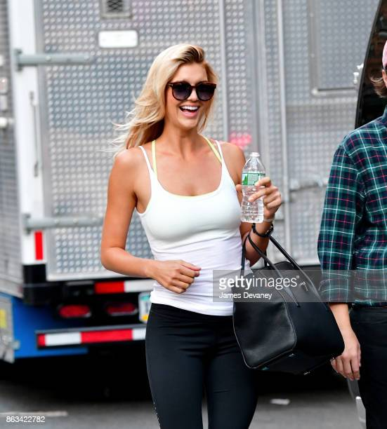 Kelly Rohrbach seen on location for Woody Allen's untitled movie in Tribeca on October 19 2017 in New York City