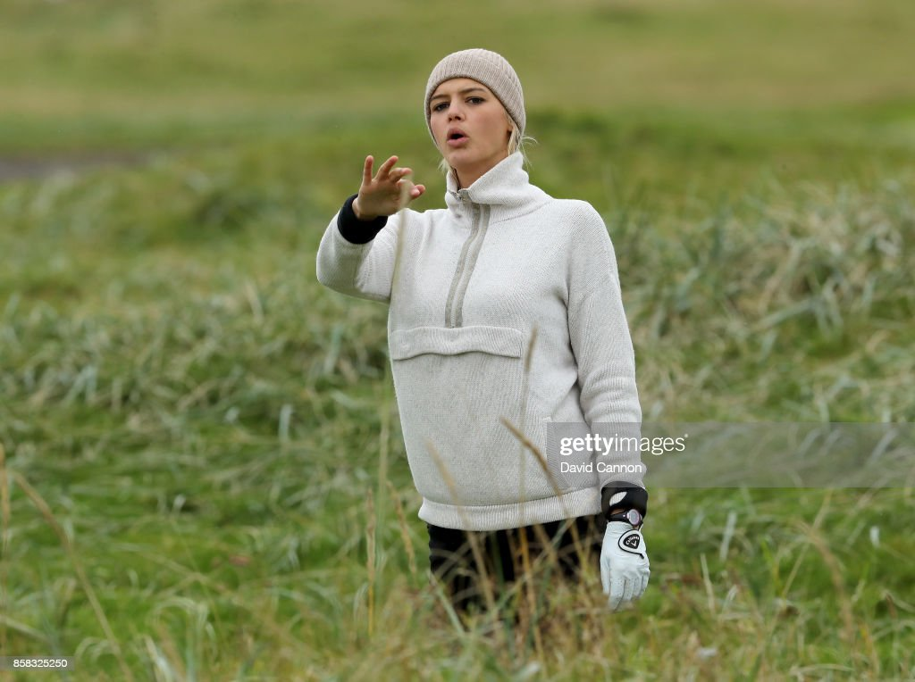 Kelly Rohrbach the American Baywatch film and television actress plays a shot on the 18th hole during the second round of the 2017 Alfred Dunhill Links Championship on the Championship Links at Carnoustie on October 6, 2017 in Carnoustie, Scotland.