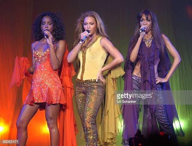 Kelly Roland Beyonce Knowles and Kelly Roland of Destiny's Child perform at the Office Depot Center July 17 2005 in Sunrise Florida