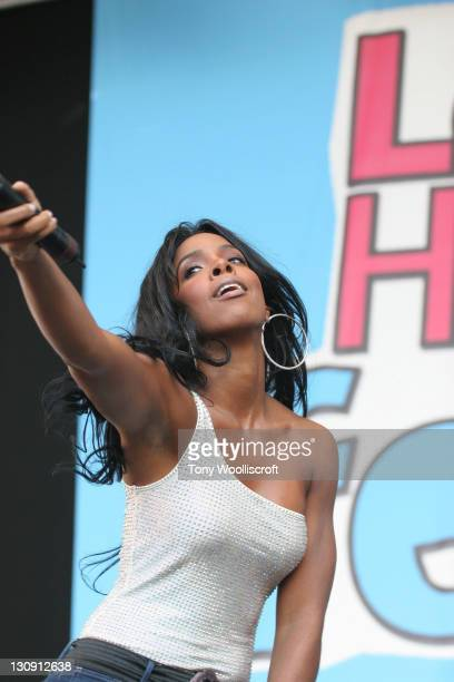 Kelly Rolland peforms at 'The Love Music Hate Racism Festival' at Britannia Stadium on May 30, 2009 in Stoke on Trent, England.