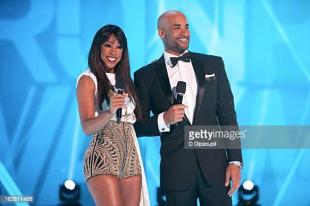 Kelly Rowland and Boris Kodjoe host BET's Rip The Runway 2013 at Hammerstein Ballroom on February 27 2013 in New York City