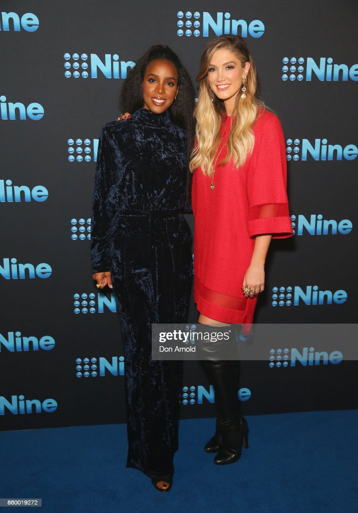 Kelly Rowland and Delta Goodrem pose during the Channel Nine Upfronts 2018 event on October 11, 2017 in Sydney, Australia.