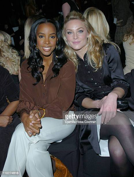 Kelly Rowland and Elisabeth Rohm during Olympus Fashion Week Fall 2006 Badgley Mischka Front Row and Backstage at Bryant Park in New York City New...