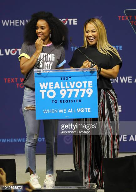 Kelly Rowland and Erica Campbell are seen participating in the When We All Vote Rally at Watsco Center at the University of Miami on September 28...