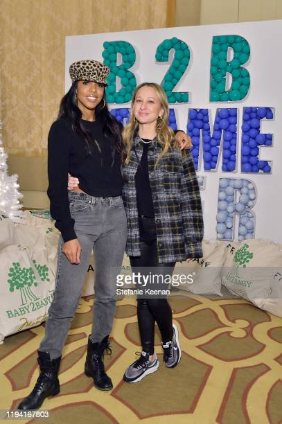 Kelly Rowland and Jen Meyer attend The Baby2Baby Holiday Party Presented By FRAME And Uber at Montage Beverly Hills on December 15, 2019 in Beverly...