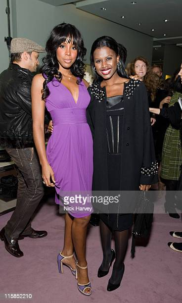 Kelly Rowland and June Sarpong attend the Prada Christmas Cocktail Party at the Prada Store Bond Street on December 13 2007 in London England