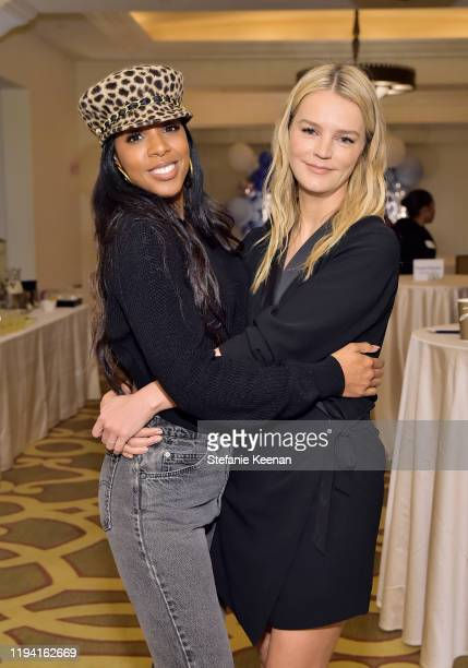 Kelly Rowland and Kelly Sawyer Patricof attend The Baby2Baby Holiday Party Presented By FRAME And Uber at Montage Beverly Hills on December 15, 2019...