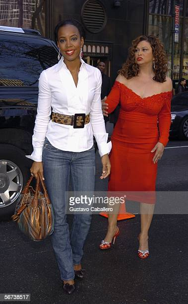Kelly Rowland and Tina Knowles arrive for Olympus Fashion Week at Bryant Park February 3 2006 in New York City