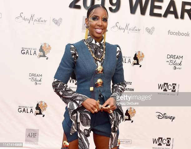 Kelly Rowland arrives at the WACO Theater Center's 3rd Annual Wearable Art Gala at The Barker Hangar at Santa Monica Airport on June 1 2019 in Santa...