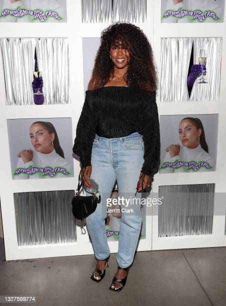 """Kelly Rowland attends Snoh Aalegra album release party for """"Temporary Highs In The Violet Skies"""" at Harriet's Rooftop on July 07, 2021 in West..."""