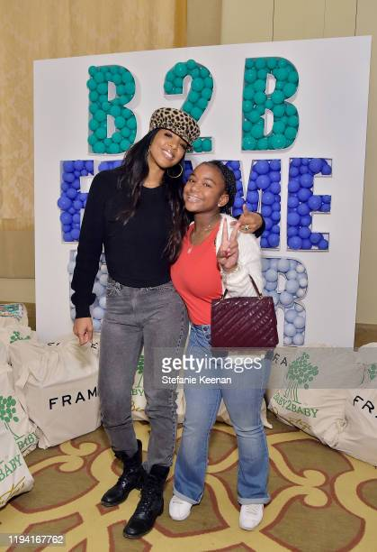 Kelly Rowland attends The Baby2Baby Holiday Party Presented By FRAME And Uber at Montage Beverly Hills on December 15, 2019 in Beverly Hills,...