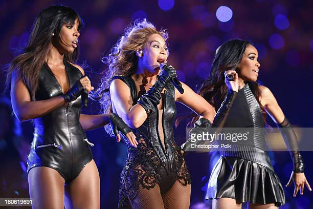 Kelly Rowland, Beyonce Knowles and Michelle Williams of Destiny's Child perform during the Pepsi Super Bowl XLVII Halftime Show at Mercedes-Benz...