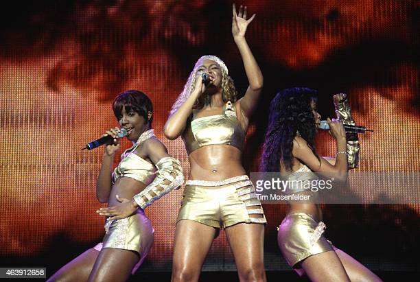 Kelly Rowland, Beyonce Knowles, and Michelle Williams of Destiny's Child perform during the MTV TRL Tour 2001 at The Chronicle Pavillion on September...