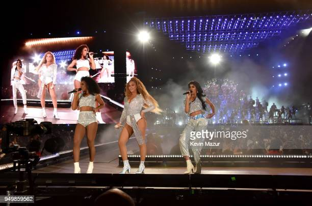 Kelly Rowland Beyonce Knowles and Michelle Williams of Destiny's Child perform onstage during the 2018 Coachella Valley Music And Arts Festival at...