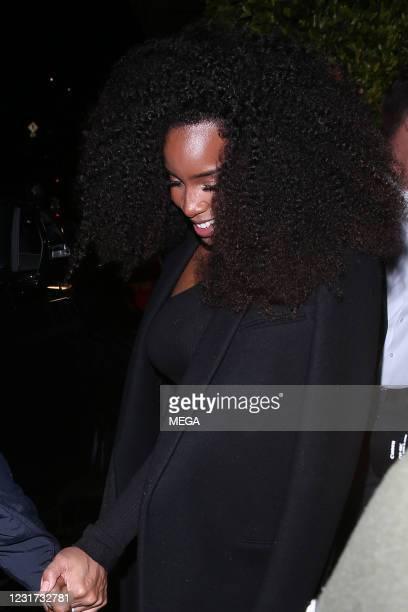 Kelly Rowland is seen leaving Giorgio Baldi restaurant on March 14, 2021 in Los Angeles, California.