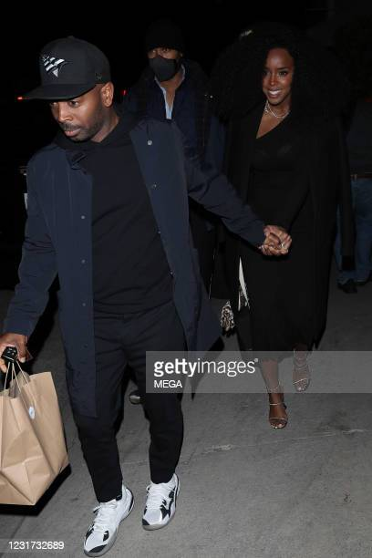 Kelly Rowland is seen leaving Giorgio Baldi restaurant with husband Tim Weatherspoon on March 14, 2021 in Los Angeles, California.
