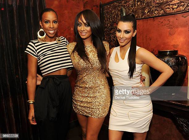 Kelly Rowland Lala Vasquez and Kim Kardashian attend her Bachelorette Party at Tao restaurant at the Venetian Hotel and Casino Resort on May 7 2010...