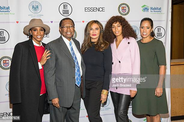 Kelly Rowland Mayor of Baton Rouge Kip Holden Tina KnowlesLawson Solange Knowles and Michelle Ebanks attend Love On Louisiana An Essence hometown...