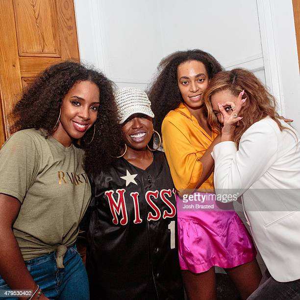 Kelly Rowland Missy Elliott Solange Knowles and Beyonce Knowles pose for a photo at St Heron's '17 Wards' Weekend Wine Grind for Essence Festival at...