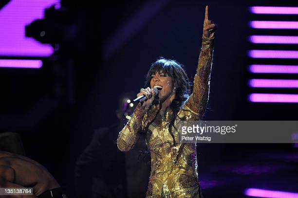 Kelly Rowland performs as special guest during the 'The X Factor Live' TVShow Final on December 06 2011 in Cologne Germany