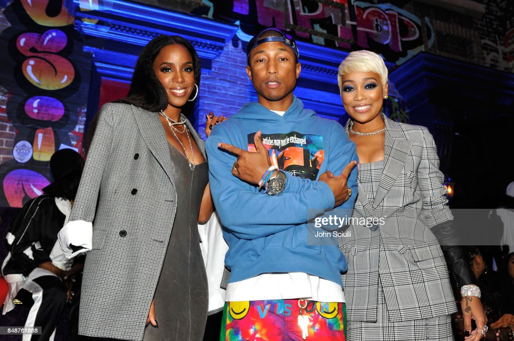 Kelly Rowland, Pharrell Williams and Monica attends VH1 Hip Hop Honors: The 90s Game Changers at Paramount Studios on September 17, 2017 in Los Angeles, California.
