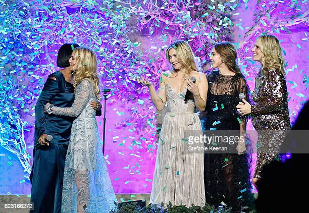 Kelly Rowland Rachel Zoe Kate Hudson Jessica Alba and Molly Sims speak onstage during the Fifth Annual Baby2Baby Gala Presented By John Paul Mitchell...