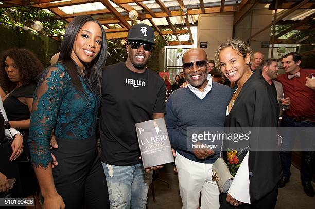 Kelly Rowland Sean Combs LA Reid and Erica Reid pose for a photo at the LA Reid Sing To Me PreGrammy Brunch at Hinoki The Bird on February 13 2016 in...
