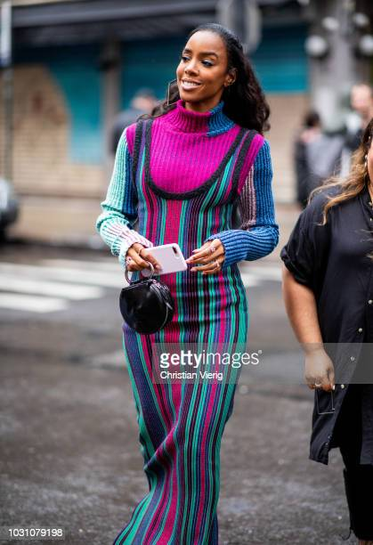 Kelly Rowland wearing pink turtleneck striped dress is seen outside 31 Phillip Lim during New York Fashion Week Spring/Summer 2019 on September 10...