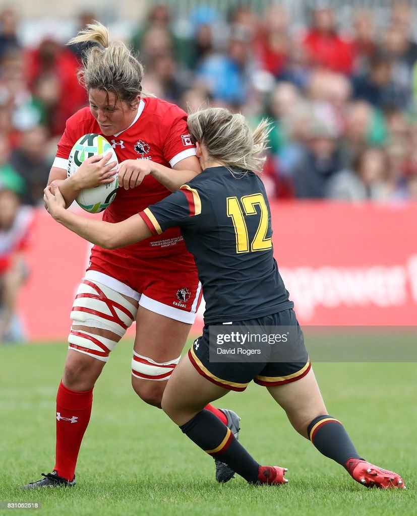 Kelly Russell of Canada is tackled by Hannah Jones of Wales (R) during the Women's Rugby World Cup 2017 match between Canada and Wales on August 13, 2017 in Dublin, Ireland.