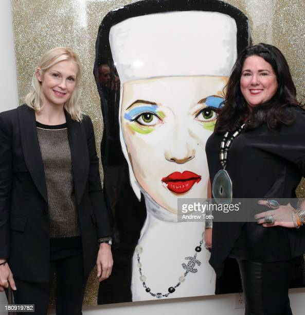 Kelly Rutherford and Ashley Longshore attend the Ashley Longshore Pop Up Gallery cocktail party on September 17 2013 in New York City