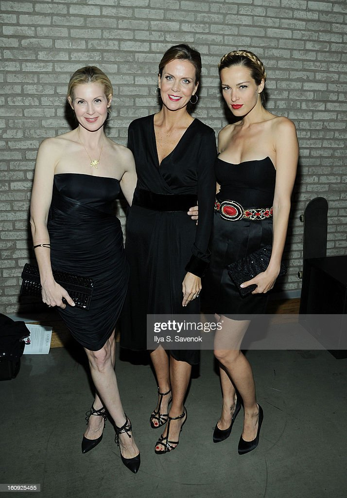 Kelly Rutherford (L) and Petra Nemcova (R) attend the La Perla fall 2013 presentation during Mercedes-Benz Fashion Week at The Gallery at The Dream Downtown Hotel on February 7, 2013 in New York City.