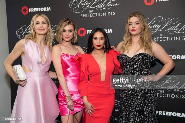 Kelly Rutherford Hayley Erin Janel Parrish and Sasha Pieterse arrive at the 'Pretty Little Liars The Perfectionists' premiere at Hollywood Athletic...
