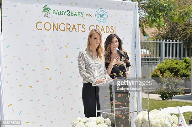Kelly Sawyer Patricof and Norah Weinstein speak on stage at Baby2Baby and The Honest Company Host LAUSD Graduation Event to Support Mothers Pursuing...